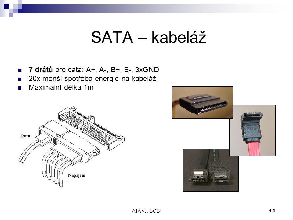 SATA – kabeláž 7 drátů pro data: A+, A-, B+, B-, 3xGND