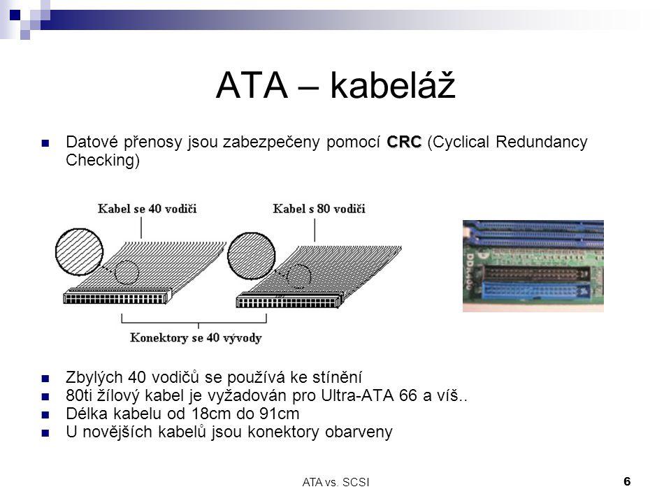 ATA – kabeláž Datové přenosy jsou zabezpečeny pomocí CRC (Cyclical Redundancy Checking) Zbylých 40 vodičů se používá ke stínění.
