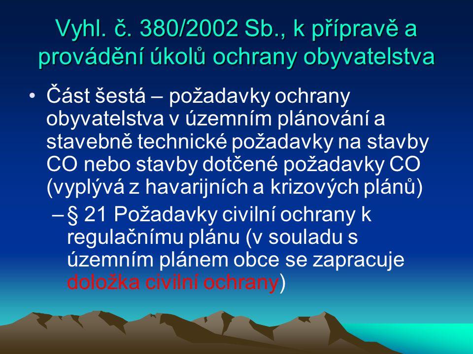 Vyhl. č. 380/2002 Sb., k přípravě a provádění úkolů ochrany obyvatelstva