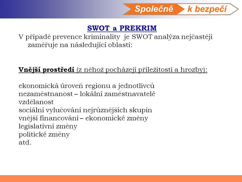 SWOT a PREKRIM V případě prevence kriminality je SWOT analýza nejčastěji zaměřuje na následující oblasti: