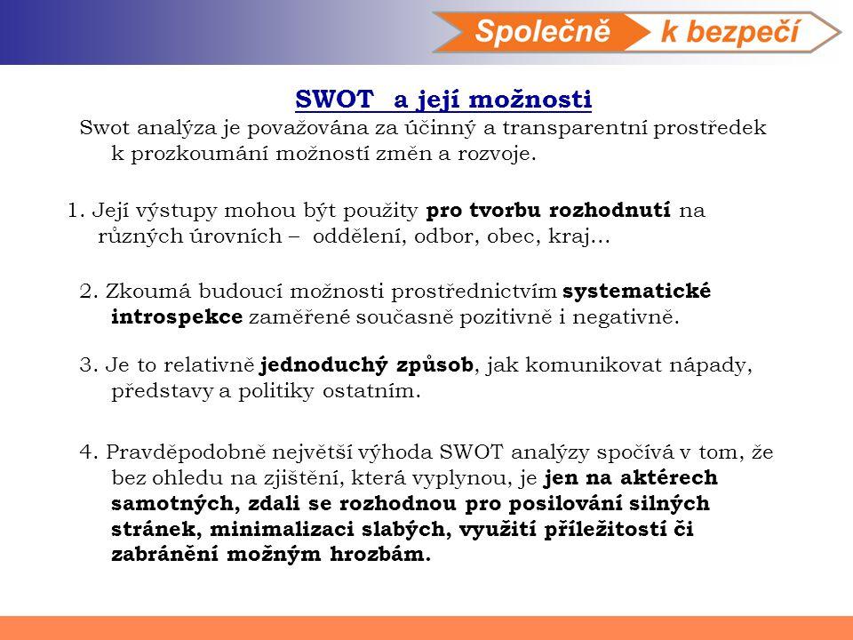 SWOT a její možnosti Swot analýza je považována za účinný a transparentní prostředek k prozkoumání možností změn a rozvoje.