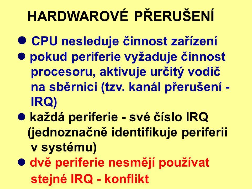 CPU nesleduje činnost zařízení