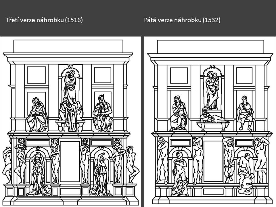Třetí verze náhrobku (1516) Pátá verze náhrobku (1532)