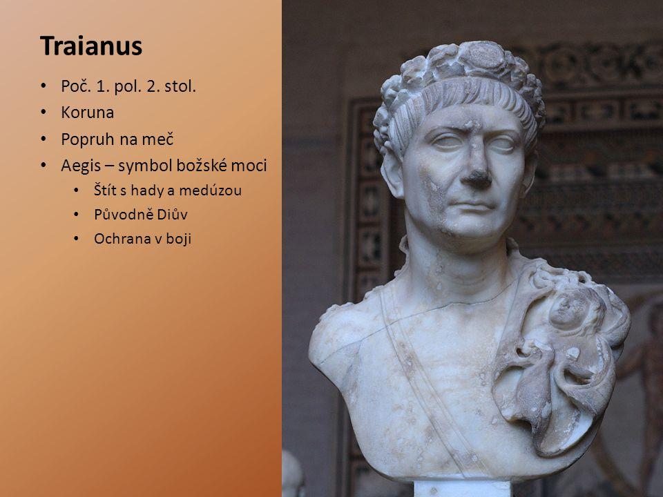 Traianus Poč. 1. pol. 2. stol. Koruna Popruh na meč