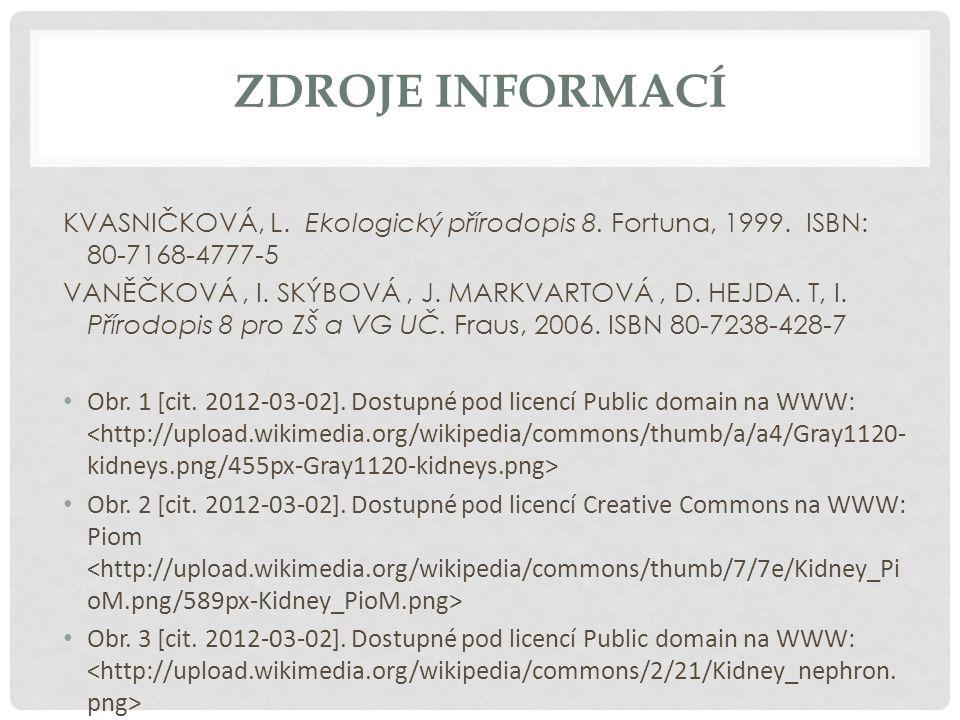 Zdroje informací KVASNIČKOVÁ, L. Ekologický přírodopis 8. Fortuna, 1999. ISBN: 80-7168-4777-5.