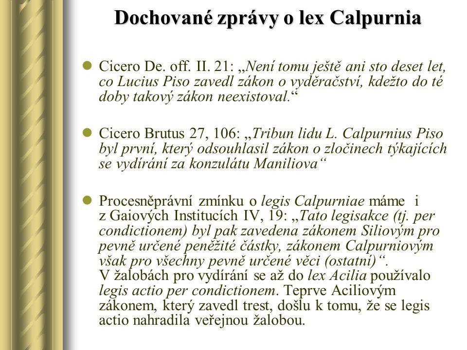 Dochované zprávy o lex Calpurnia