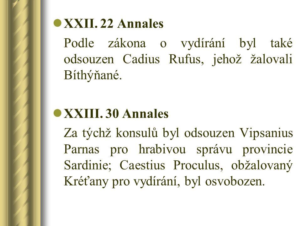 XXII. 22 Annales Podle zákona o vydírání byl také odsouzen Cadius Rufus, jehož žalovali Bíthýňané. XXIII. 30 Annales.