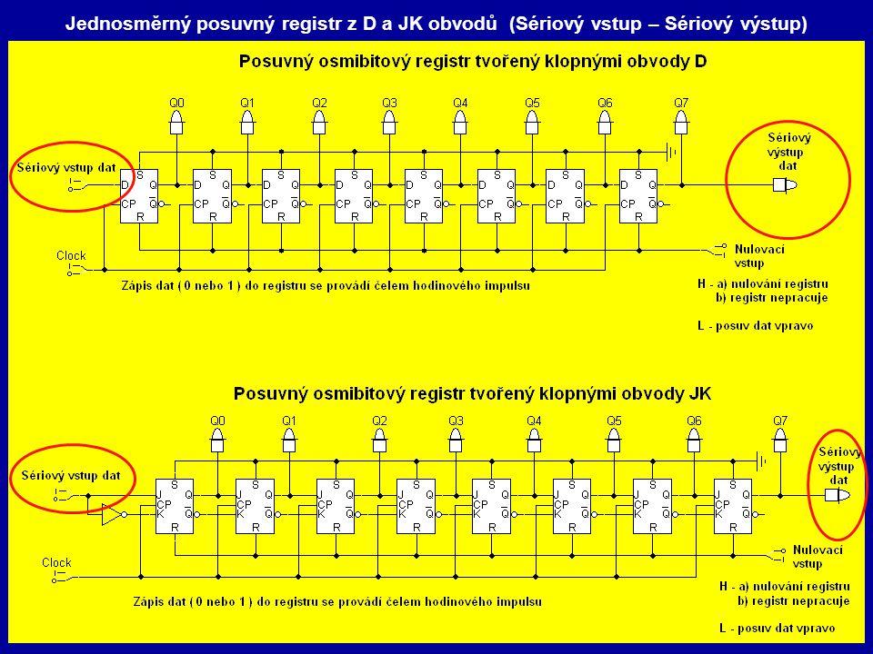 Jednosměrný posuvný registr z D a JK obvodů (Sériový vstup – Sériový výstup)