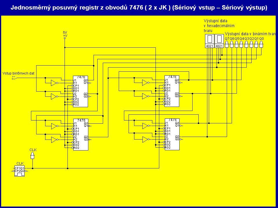 Jednosměrný posuvný registr z obvodů 7476 ( 2 x JK ) (Sériový vstup – Sériový výstup)
