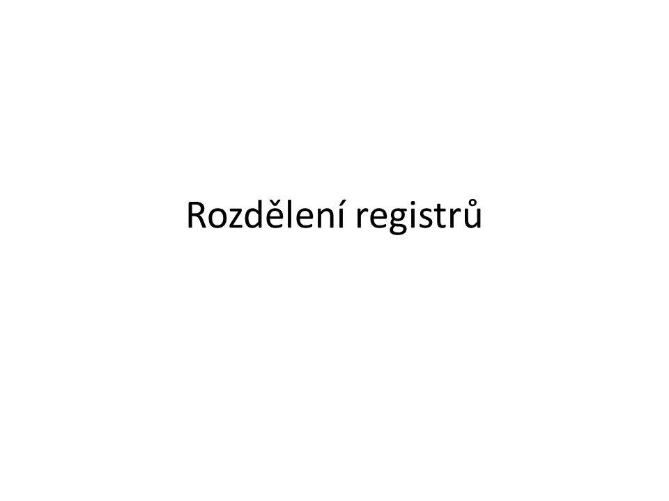 Rozdělení registrů