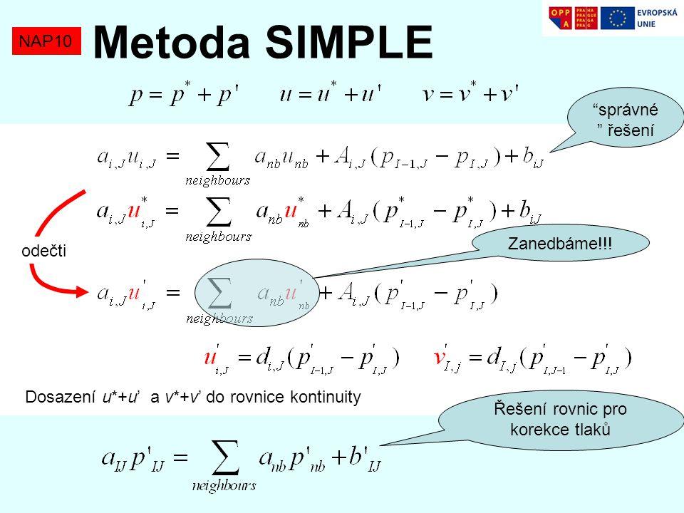 Řešení rovnic pro korekce tlaků