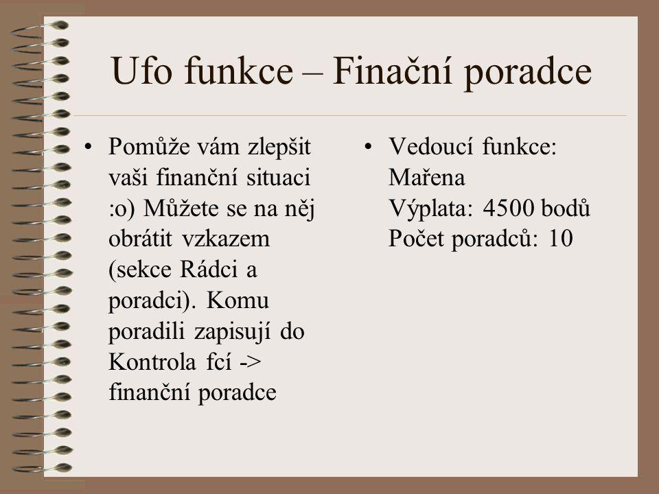 Ufo funkce – Finační poradce