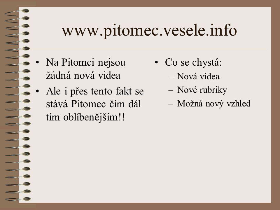 www.pitomec.vesele.info Na Pitomci nejsou žádná nová videa