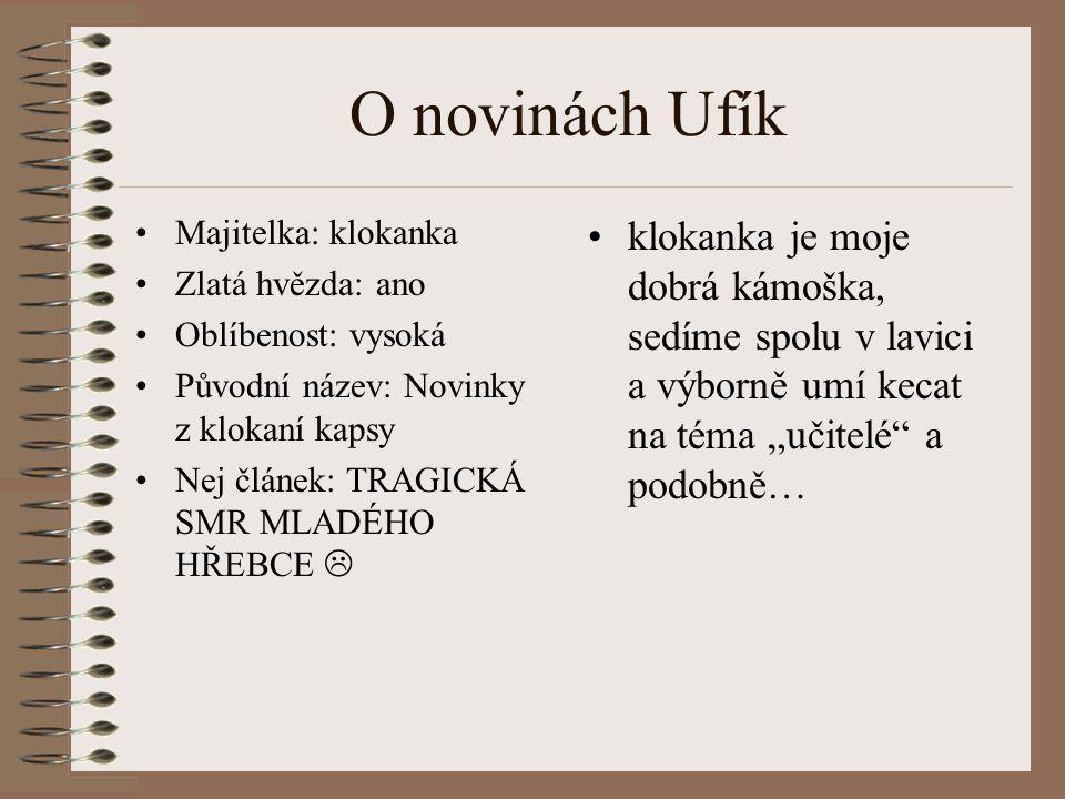 O novinách Ufík Majitelka: klokanka. Zlatá hvězda: ano. Oblíbenost: vysoká. Původní název: Novinky z klokaní kapsy.