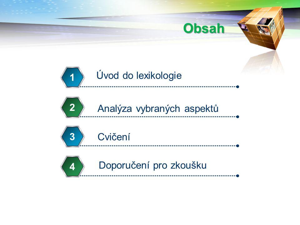 Obsah Úvod do lexikologie 1 2 Analýza vybraných aspektů 3 Cvičení