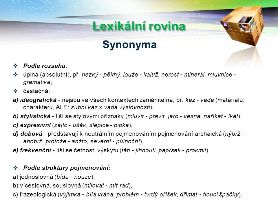 Lexikální rovina Synonyma Podle rozsahu: