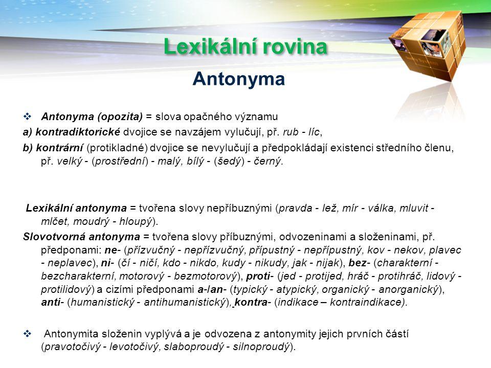 Lexikální rovina Antonyma Antonyma (opozita) = slova opačného významu