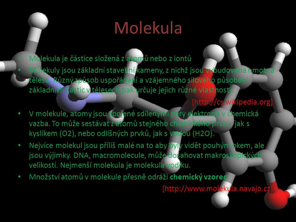 Molekula Molekula je částice složená z atomů nebo z iontů