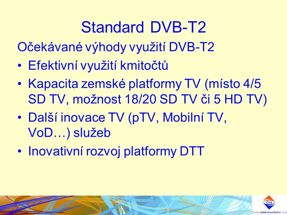 Standard DVB-T2 Očekávané výhody využití DVB-T2