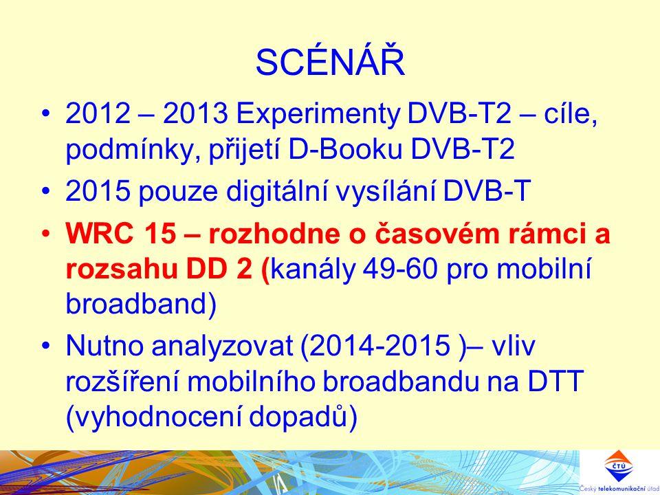 SCÉNÁŘ 2012 – 2013 Experimenty DVB-T2 – cíle, podmínky, přijetí D-Booku DVB-T2. 2015 pouze digitální vysílání DVB-T.