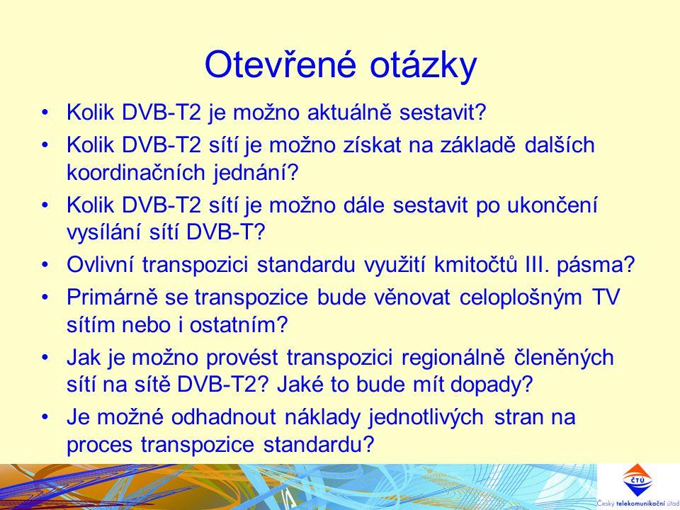 Otevřené otázky Kolik DVB-T2 je možno aktuálně sestavit