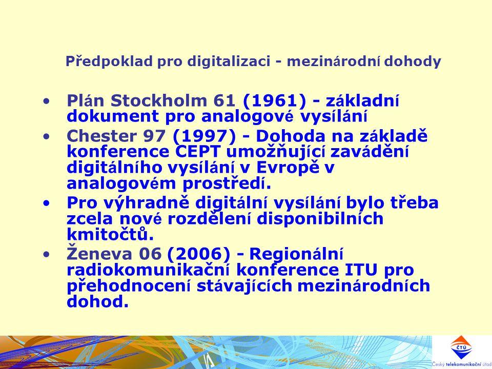 Předpoklad pro digitalizaci - mezinárodní dohody