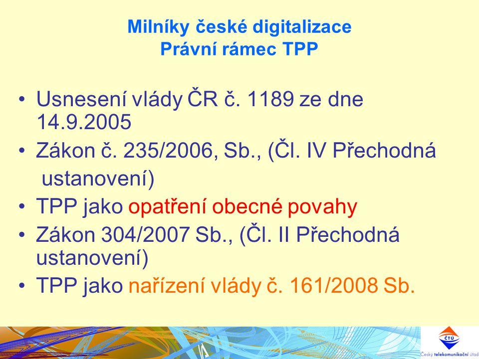 Milníky české digitalizace Právní rámec TPP