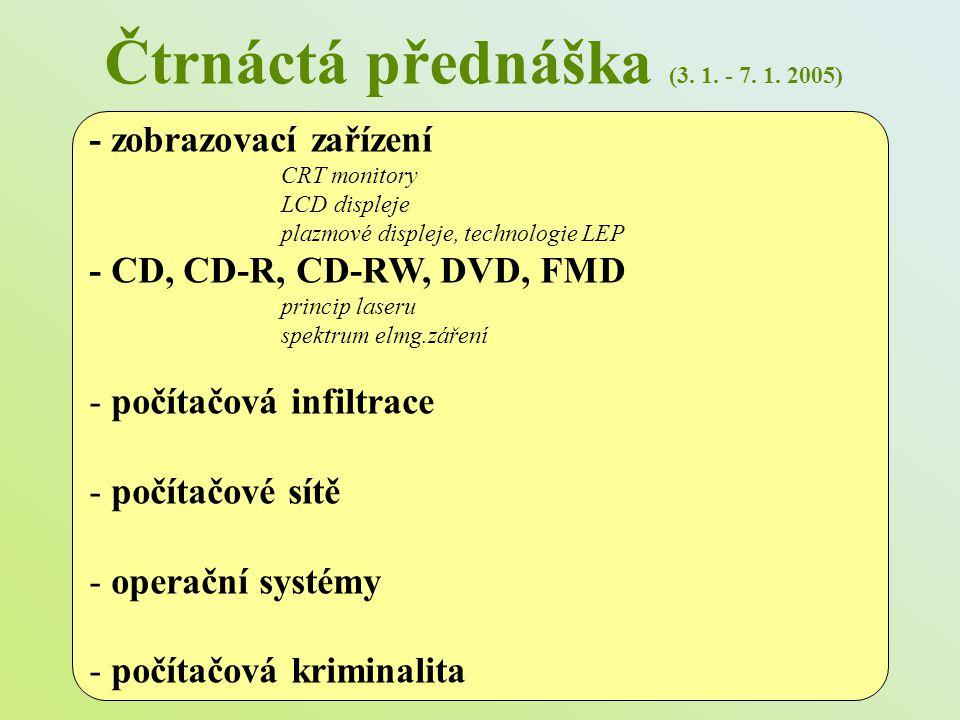 Čtrnáctá přednáška (3. 1. - 7. 1. 2005)