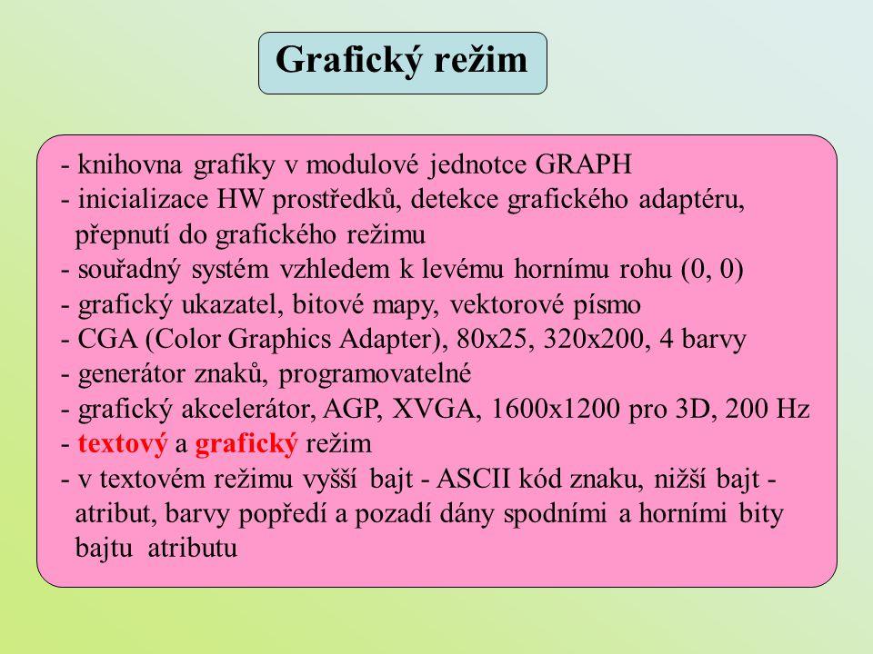 Grafický režim - knihovna grafiky v modulové jednotce GRAPH