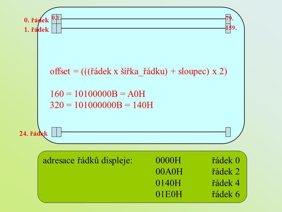 offset = (((řádek x šířka_řádku) + sloupec) x 2) 160 = 10100000B = A0H