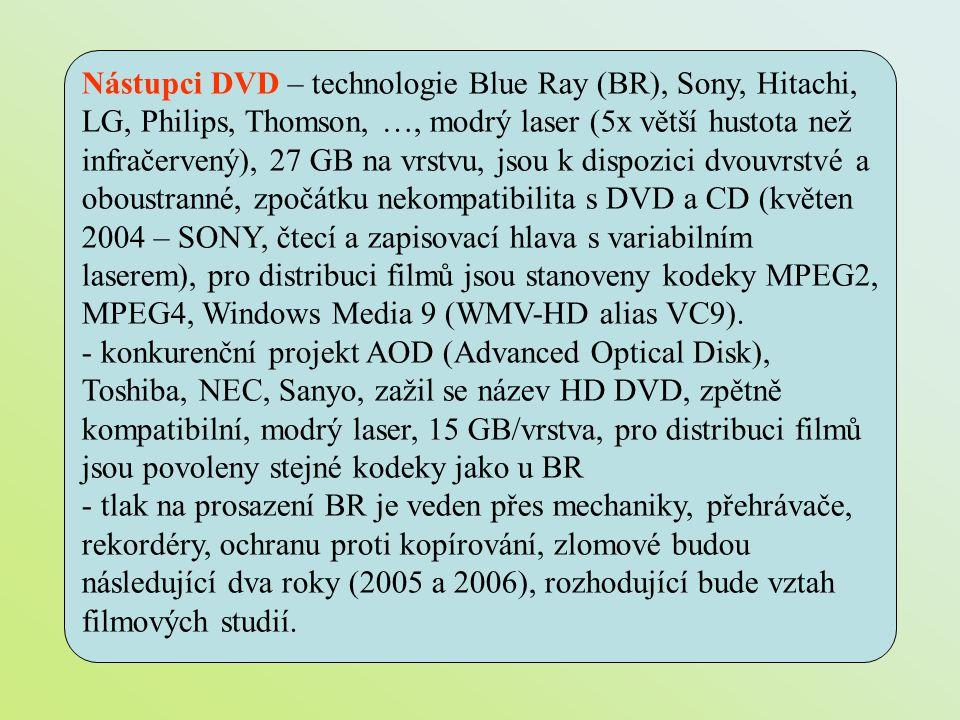 Nástupci DVD – technologie Blue Ray (BR), Sony, Hitachi, LG, Philips, Thomson, …, modrý laser (5x větší hustota než infračervený), 27 GB na vrstvu, jsou k dispozici dvouvrstvé a oboustranné, zpočátku nekompatibilita s DVD a CD (květen 2004 – SONY, čtecí a zapisovací hlava s variabilním laserem), pro distribuci filmů jsou stanoveny kodeky MPEG2, MPEG4, Windows Media 9 (WMV-HD alias VC9).