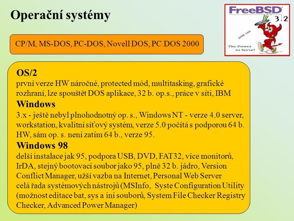 Operační systémy OS/2 Windows Windows 98
