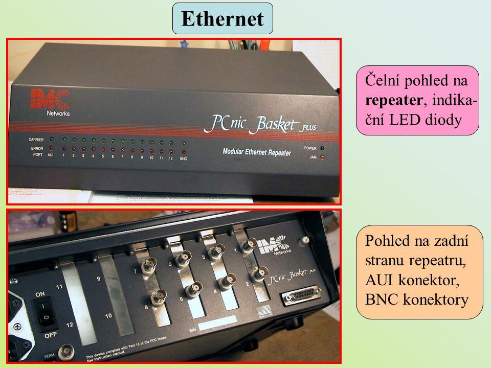 Ethernet Čelní pohled na repeater, indika- ční LED diody