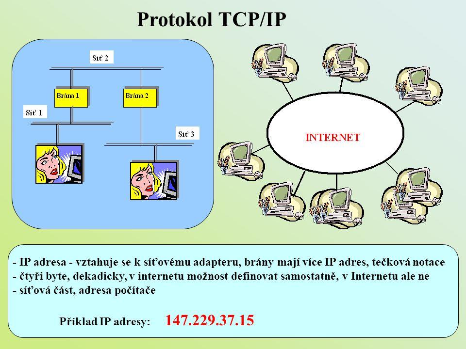 Protokol TCP/IP - IP adresa - vztahuje se k síťovému adapteru, brány mají více IP adres, tečková notace.
