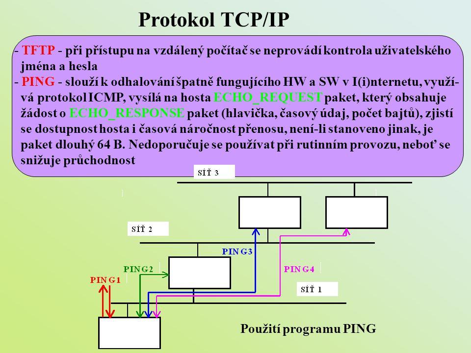 Protokol TCP/IP - TFTP - při přístupu na vzdálený počítač se neprovádí kontrola uživatelského. jména a hesla.