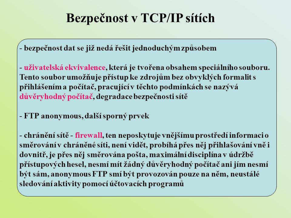Bezpečnost v TCP/IP sítích