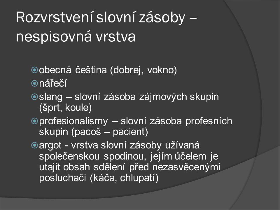 Rozvrstvení slovní zásoby – nespisovná vrstva