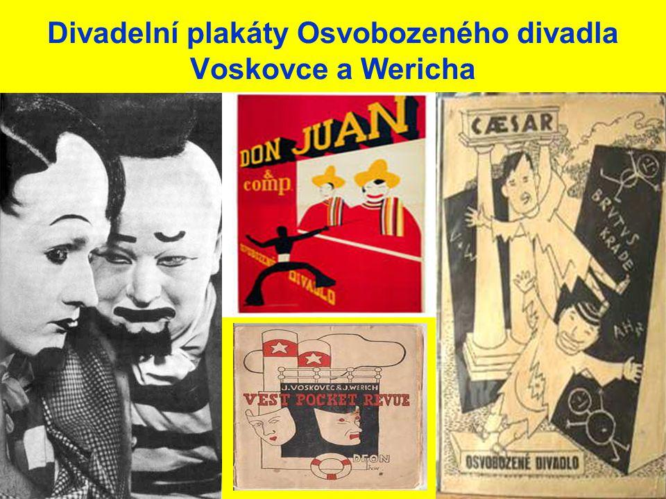 Divadelní plakáty Osvobozeného divadla Voskovce a Wericha