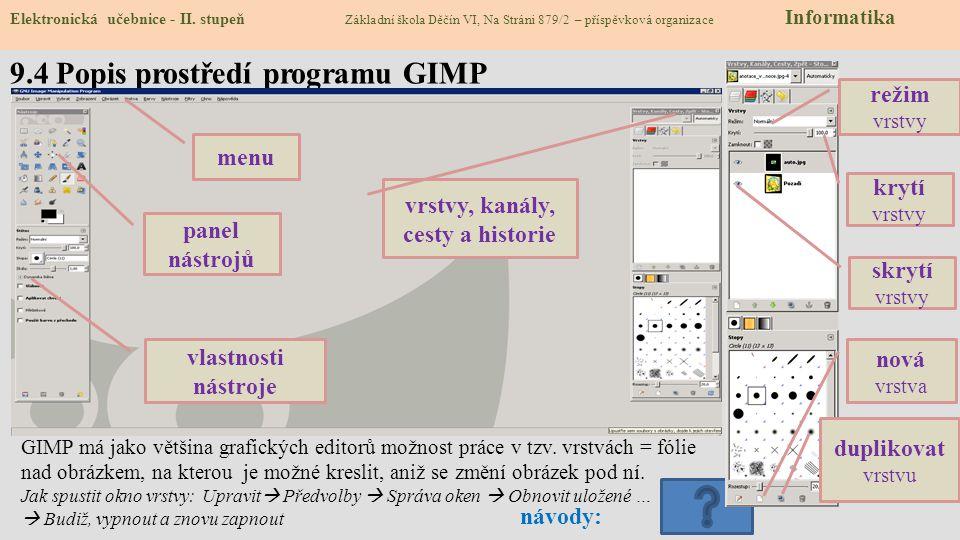 9.4 Popis prostředí programu GIMP