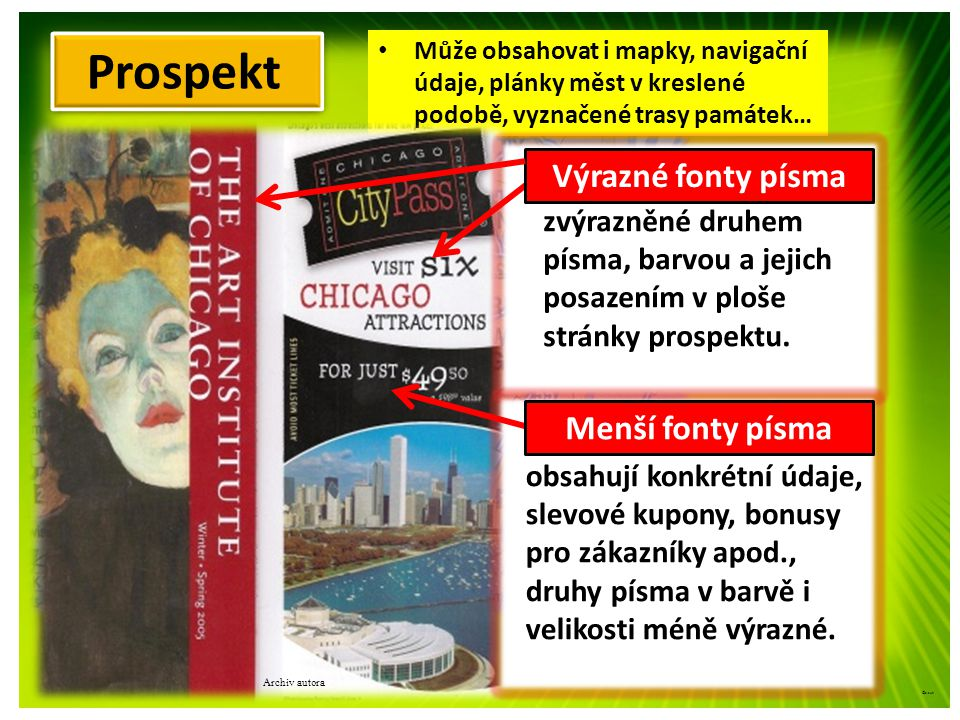 Prospekt Texty hlavní: Texty vedlejší: K uvedení nových výrobků na trh