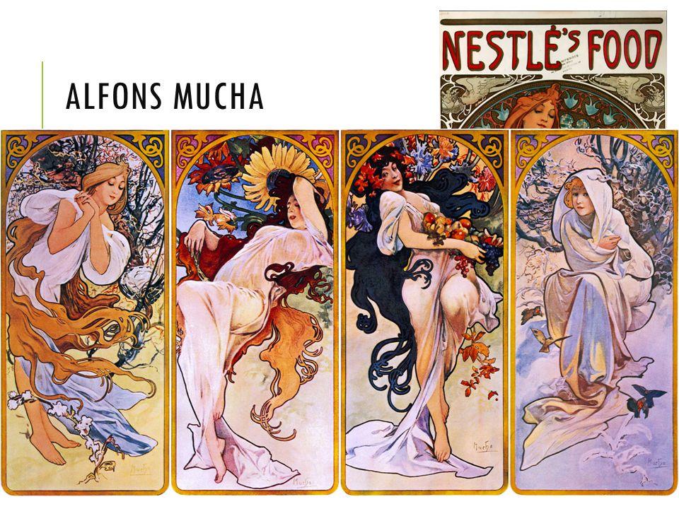 Alfons Mucha Nejznámější český secesní malíř: reklamní plakáty, dívky,