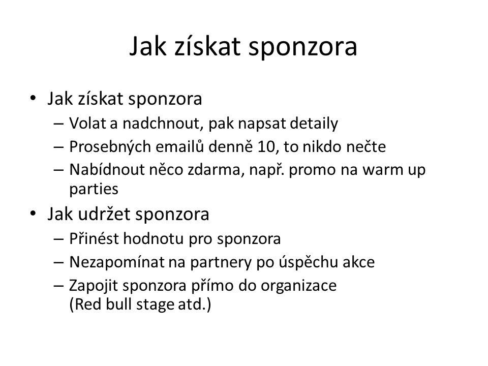Jak získat sponzora Jak získat sponzora Jak udržet sponzora