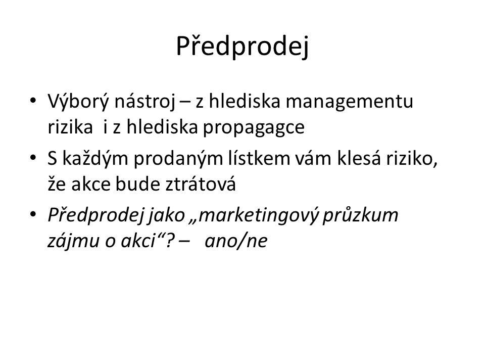 Předprodej Výborý nástroj – z hlediska managementu rizika i z hlediska propagagce.