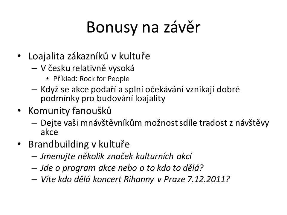 Bonusy na závěr Loajalita zákazníků v kultuře Komunity fanoušků