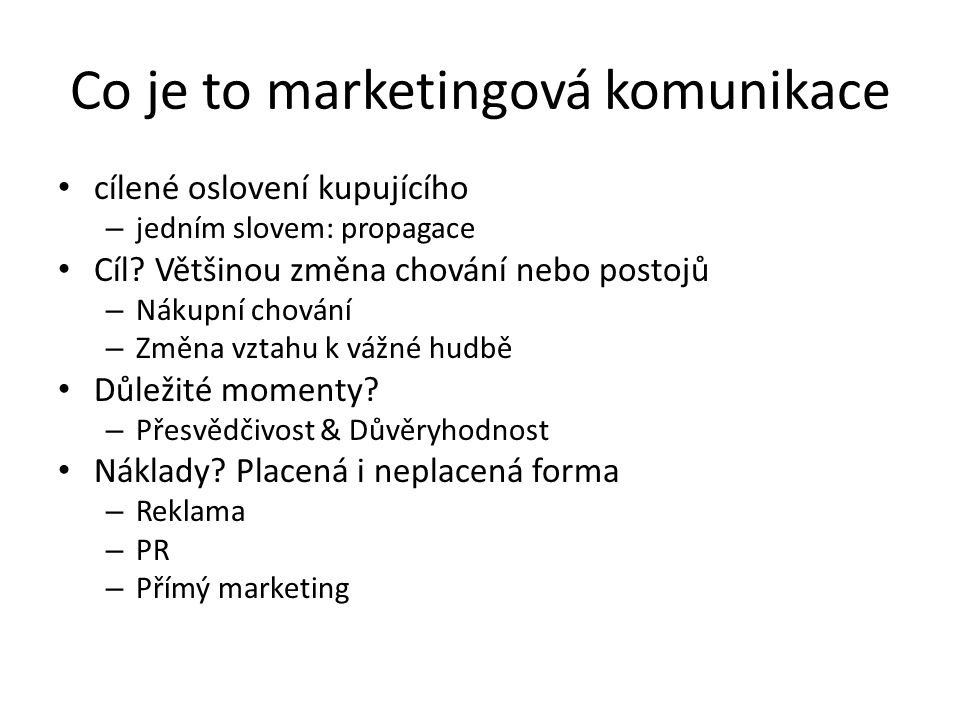 Co je to marketingová komunikace