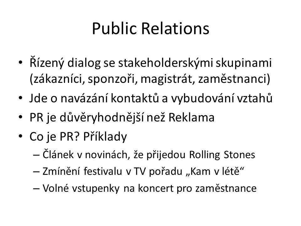 Public Relations Řízený dialog se stakeholderskými skupinami (zákazníci, sponzoři, magistrát, zaměstnanci)