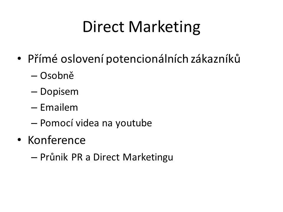 Direct Marketing Přímé oslovení potencionálních zákazníků Konference