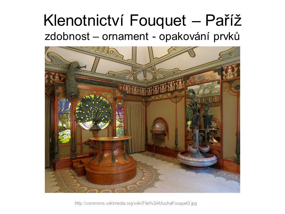 Klenotnictví Fouquet – Paříž zdobnost – ornament - opakování prvků