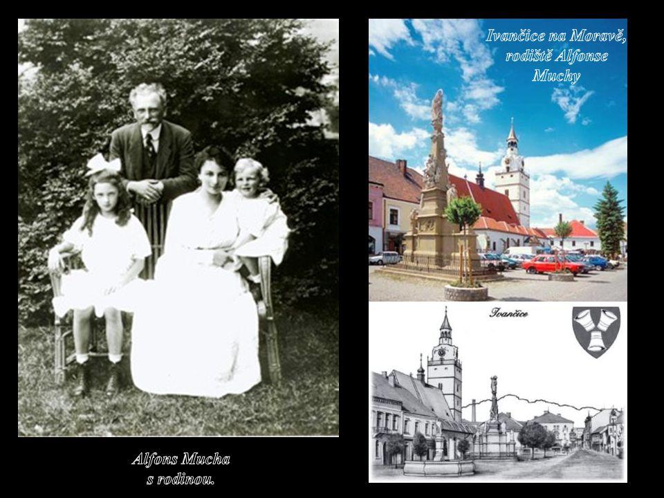 Ivančice na Moravě, rodiště Alfonse Muchy Alfons Mucha s rodinou.
