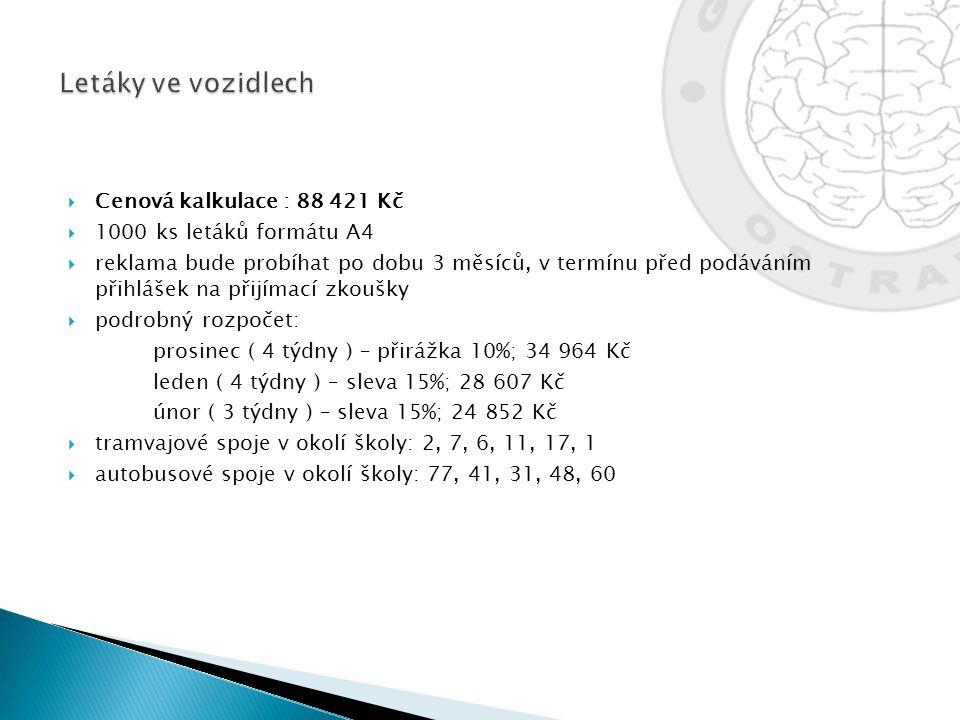 Letáky ve vozidlech Cenová kalkulace : 88 421 Kč